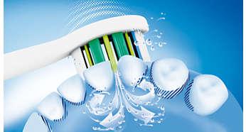 Dynamiczny sposób czyszczenia Sonicare kieruje płyn między zęby